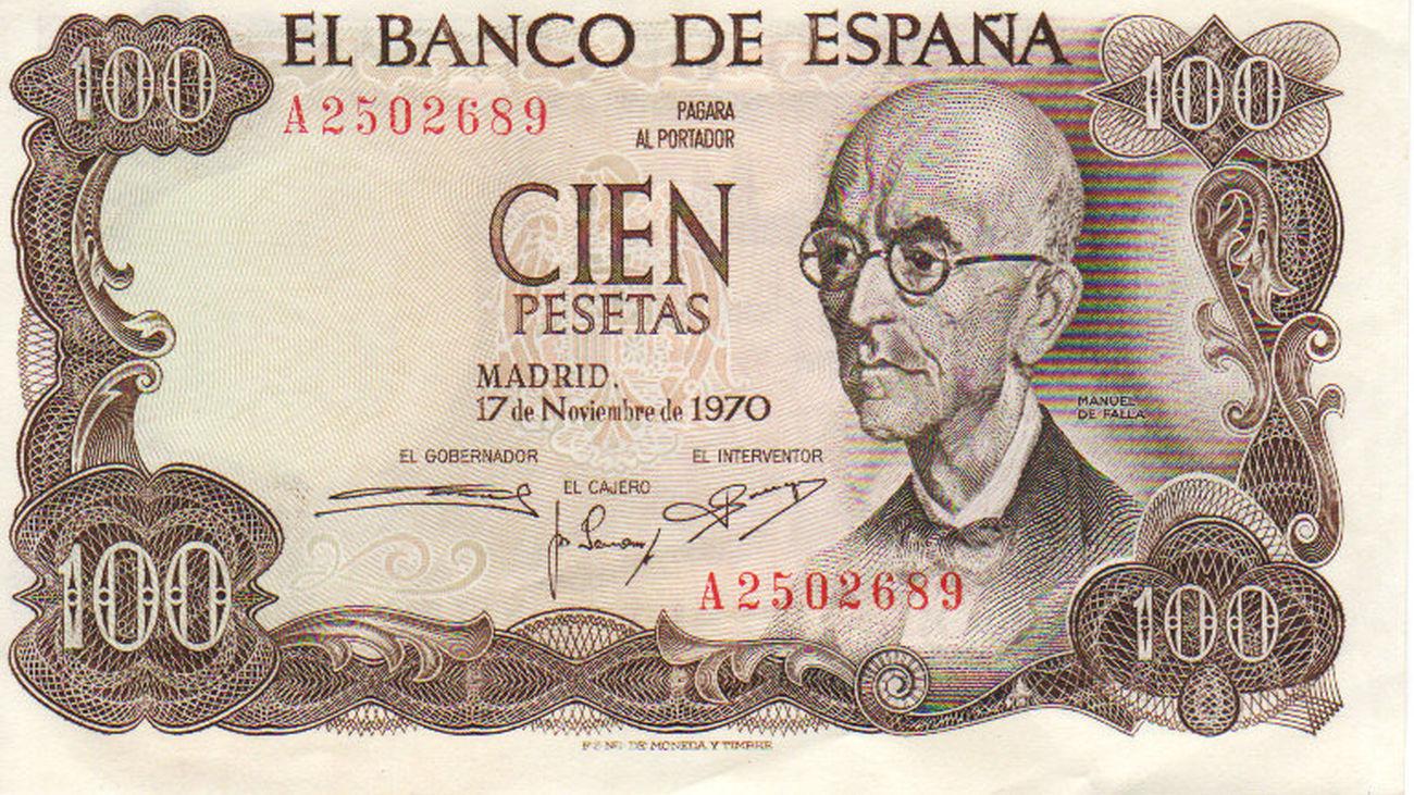 Billete de cien pesetas con la efigie de Manuel de Falla