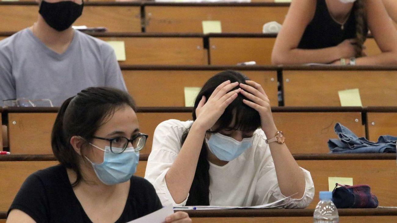 Aula en una Universidad madrileña durante las pruebas de la EBAU