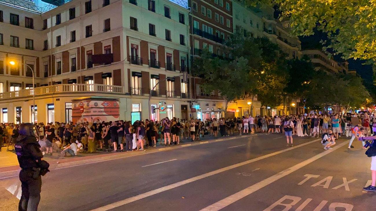 Enfrentamientos entre manifestantes y Policía tras la concentración por el asesinato de Samuel