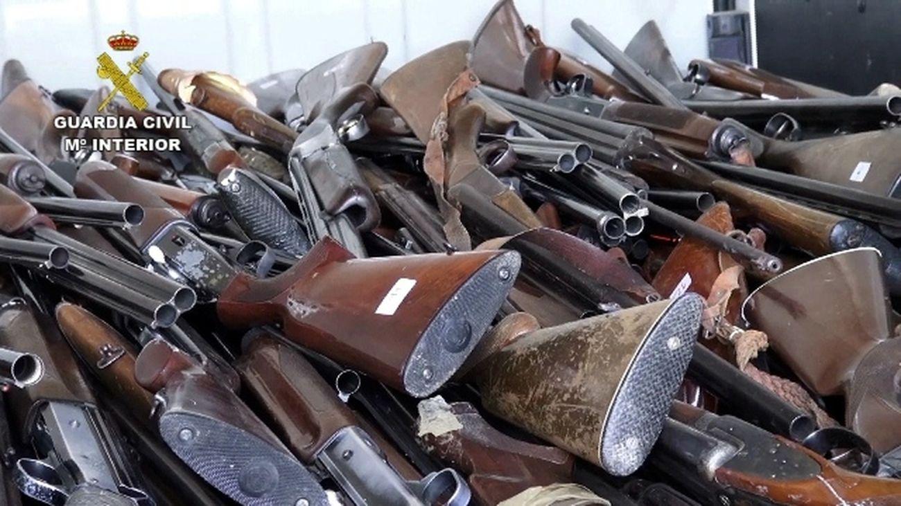 Armas intervenidas por la Guardia Civil listas para su destrucción