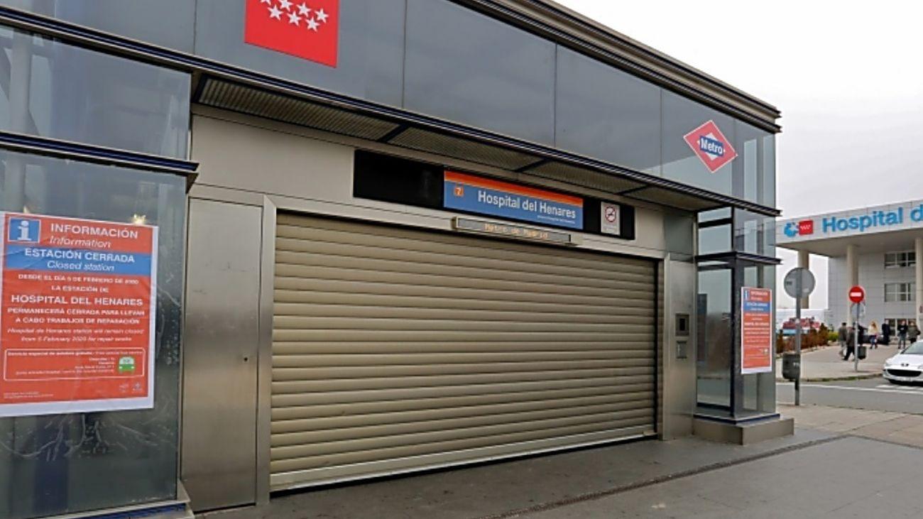 Acceso de metro de Hospital de Henares cerrado