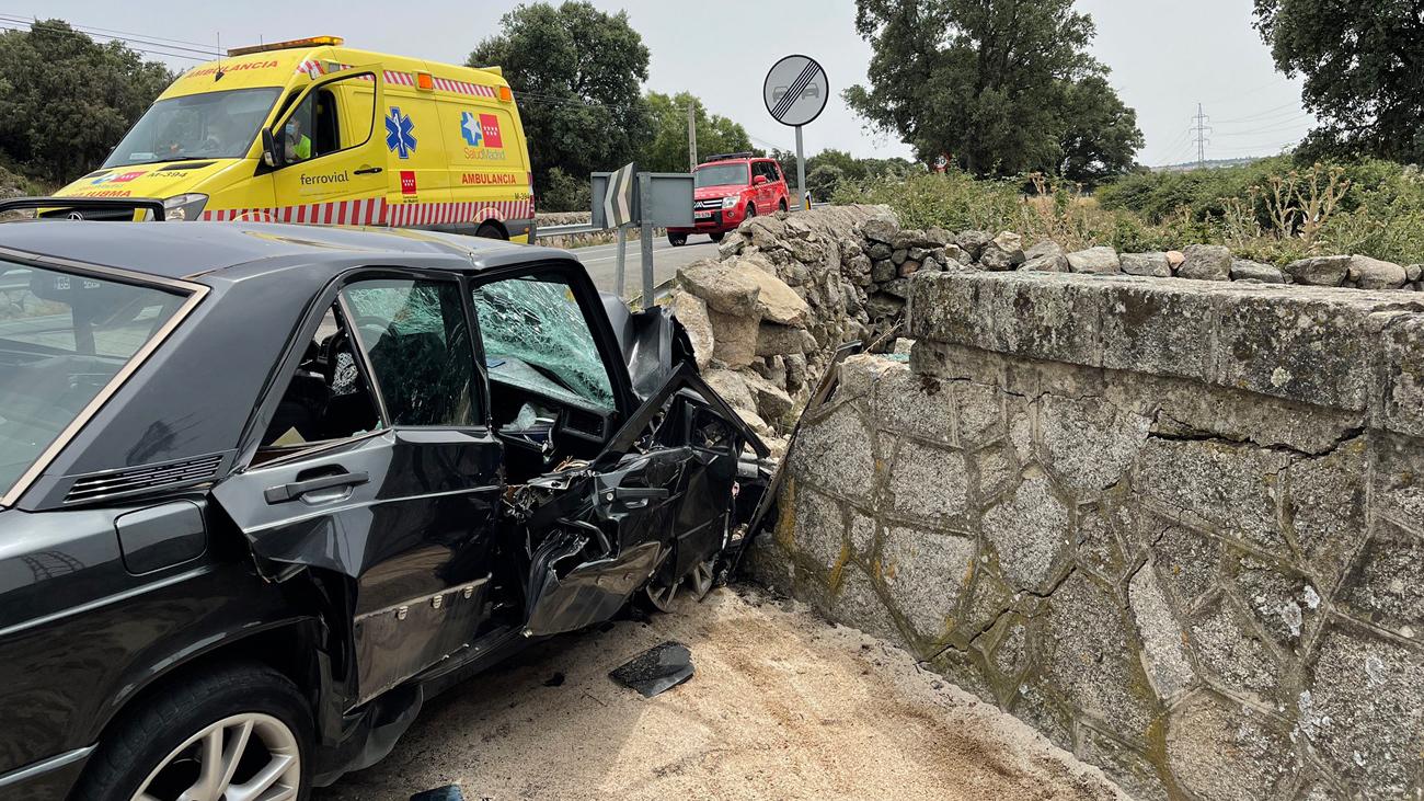 Imagen del impacto del accidente de Galapagar, con un fallecido