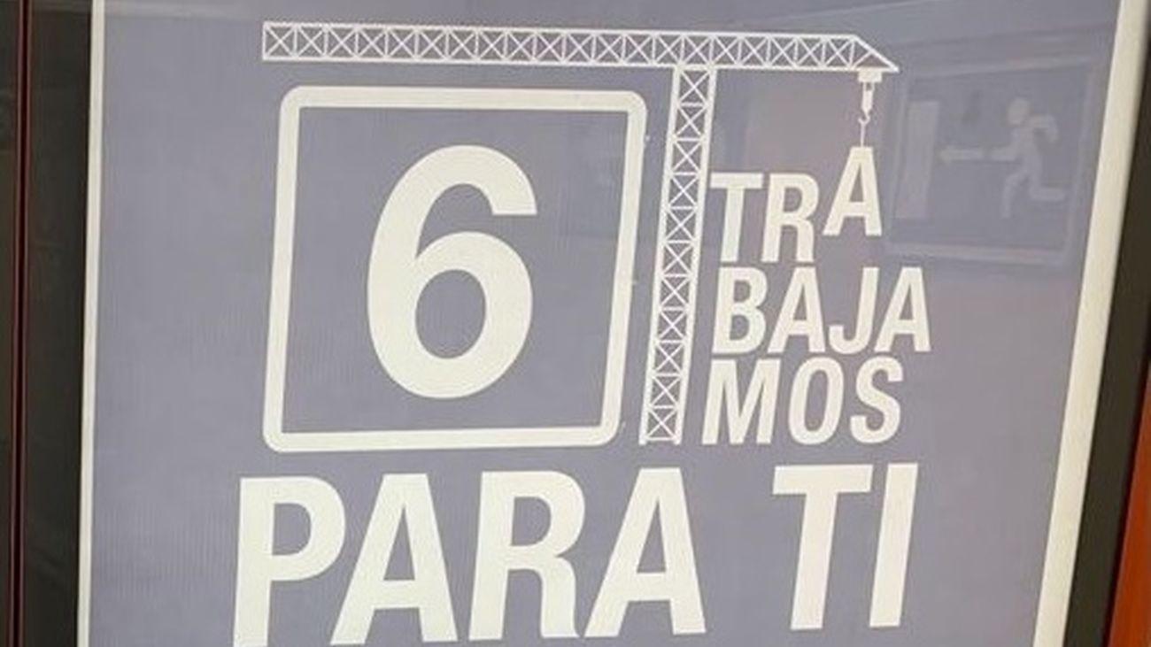 Cartel informativo de las obras en Metro de Madrid