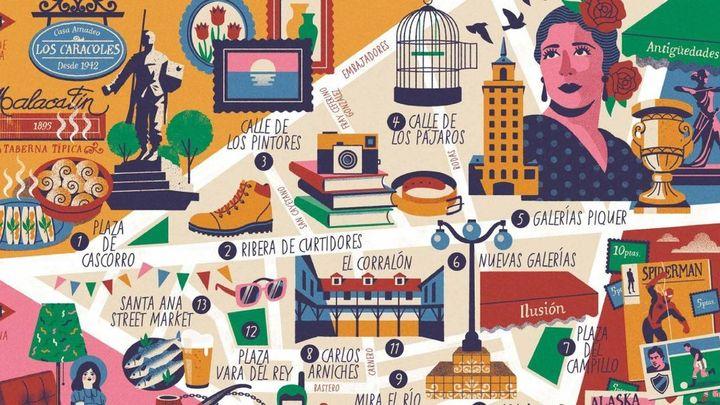 El Rastro de Madrid cuenta con un nuevo mapa cultural ilustrado y gratuito