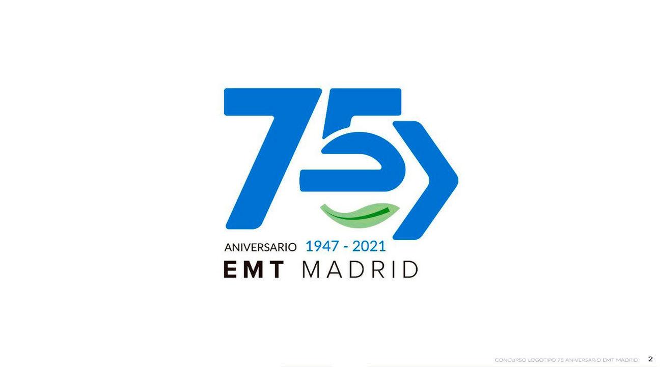 El logotipo que conmemora los 75 años de la EMT