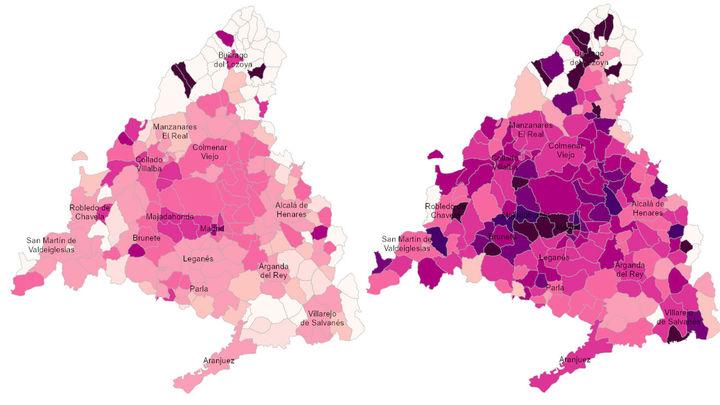 El mapa Covid de Madrid se oscurece: la quinta ola ya es peor que la cuarta en abril