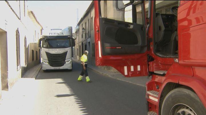 Hartos de los camiones en Colmenar de Oreja