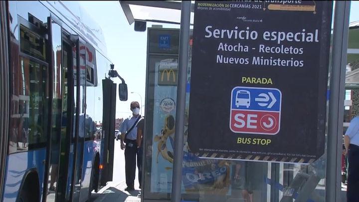 Autobuses  gratuitos  entre Atocha y Nuevos Ministerios por el cierre del túnel de Recoletos