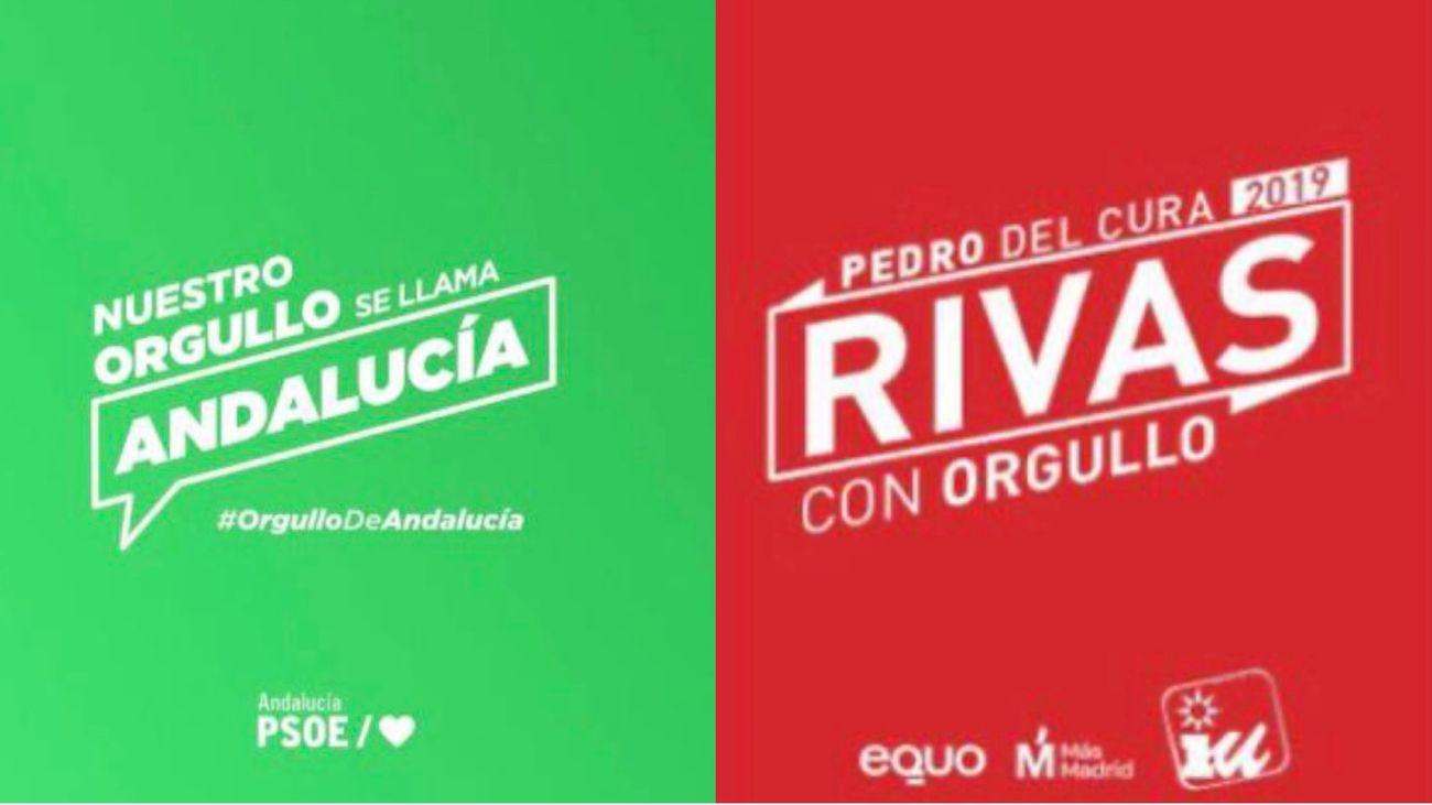 Eslóganes del PSOE Andalucía y de IU Rivas