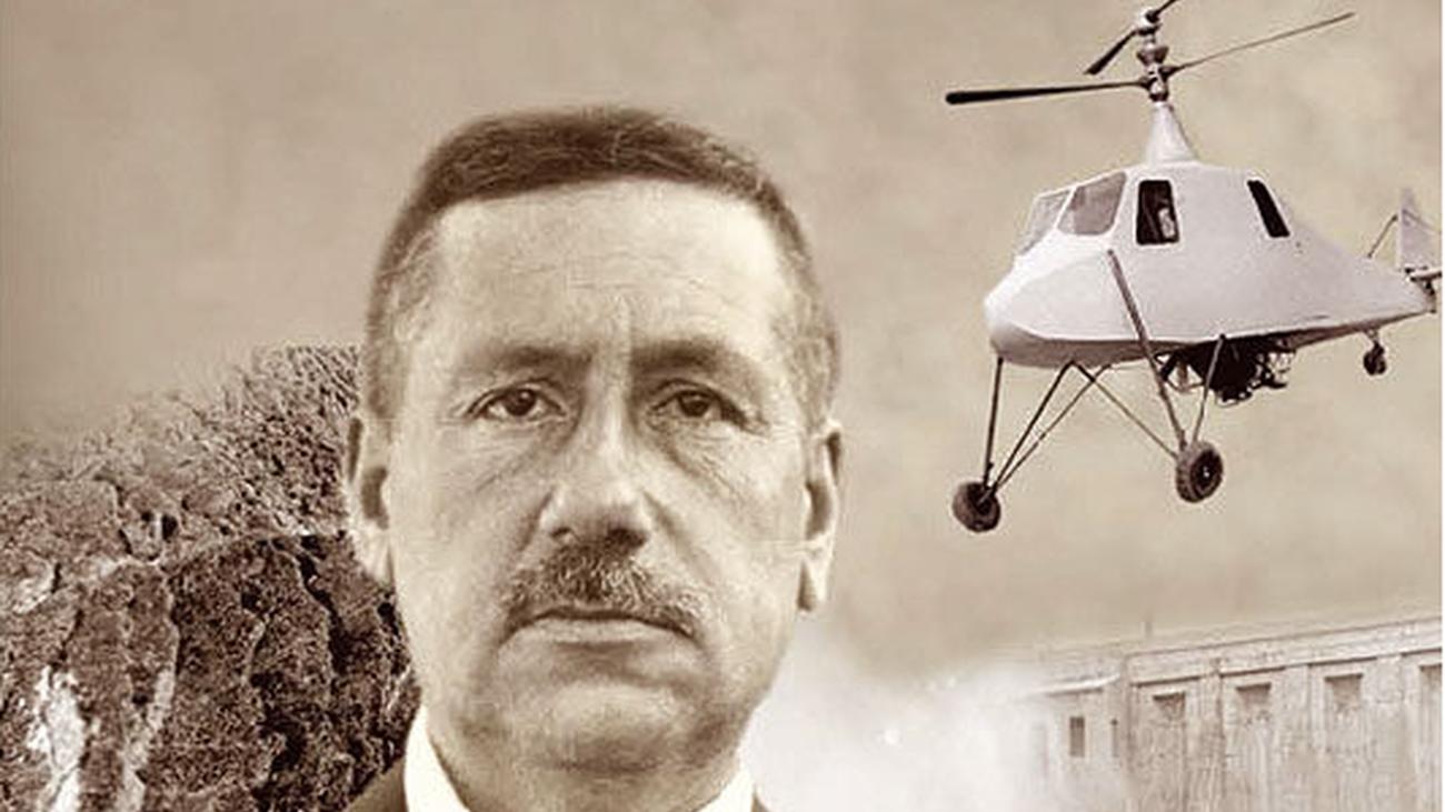 Impresión artística de Federico Cantero Villamil y su helicóptero