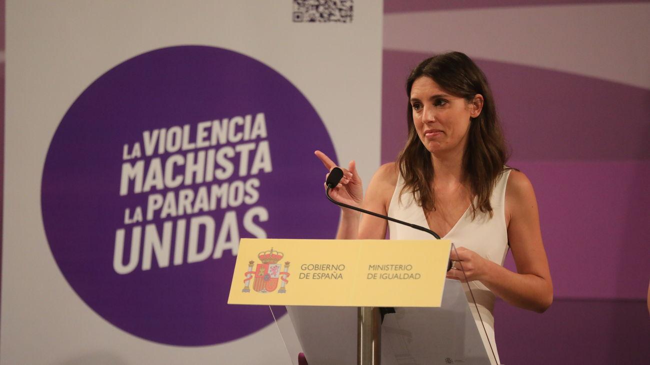 Irene Montero, ministra de Igualdad, en la presentación del 'punto violeta'