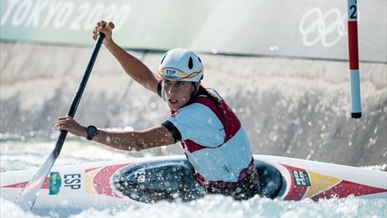 Nuria Vilarrubla en la prueba de piragüismo eslalon C1
