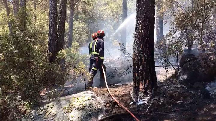 Medios aéreos se suman a extinción incendio en el pantano de San Juan