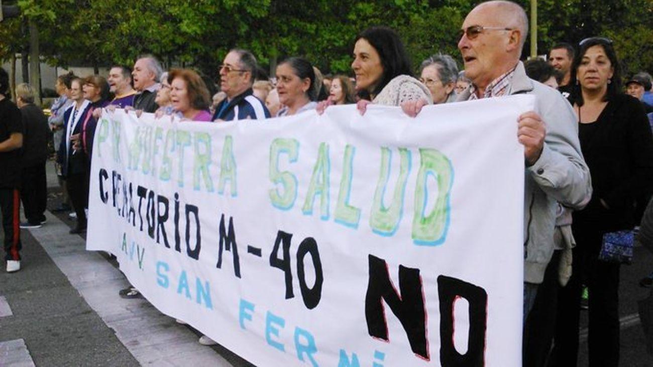 Manifestación en San Fermín contra el crematorio de la M40