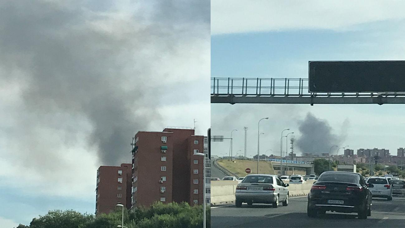 Un incendio de pastos en Villaverde origina una enorme columna de humo