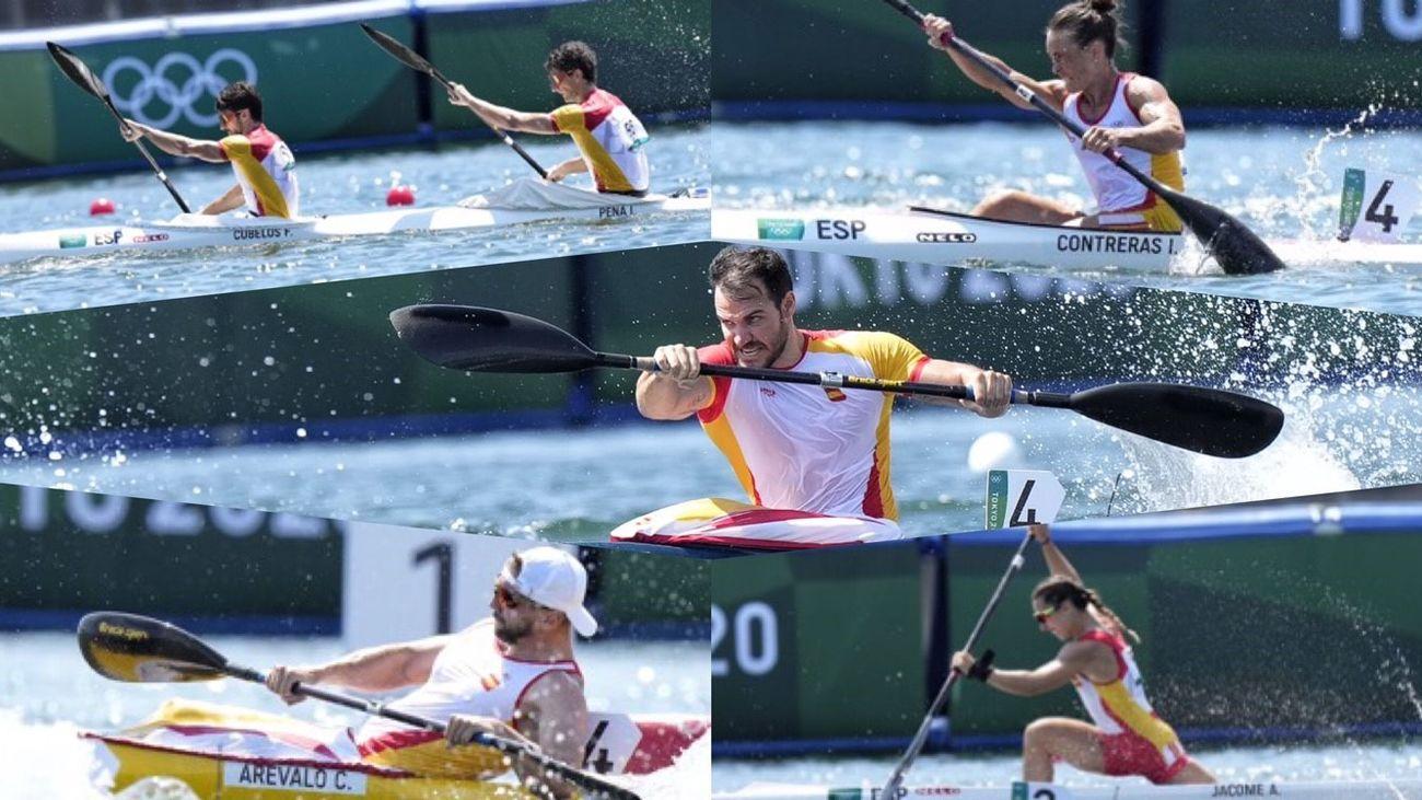 Pleno del piragüismo español, con cinco semifinalistas