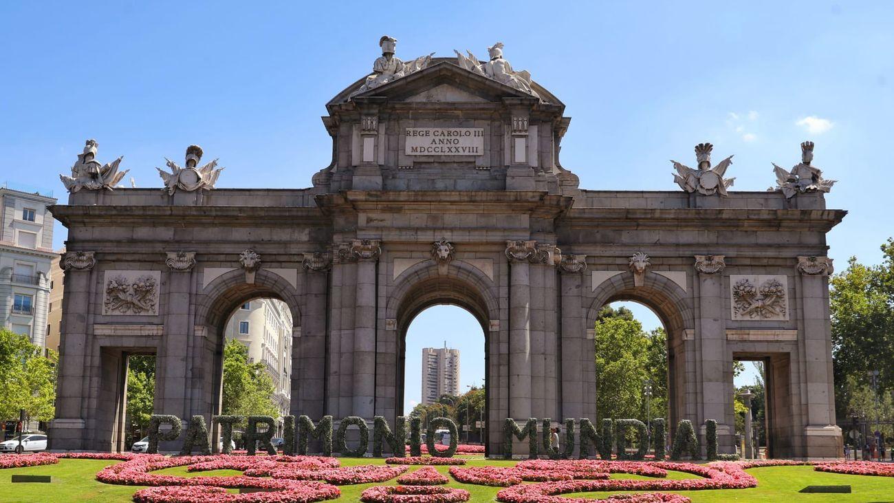 El mensaje orgulloso de Madrid en la Puerta de Alcalá: 'Patrimonio Mundial'