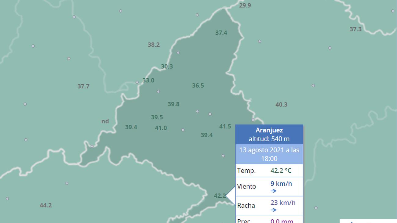 Aranjuez ha igualado este viernes los 42,2 grados registrados en Barajas en 1995