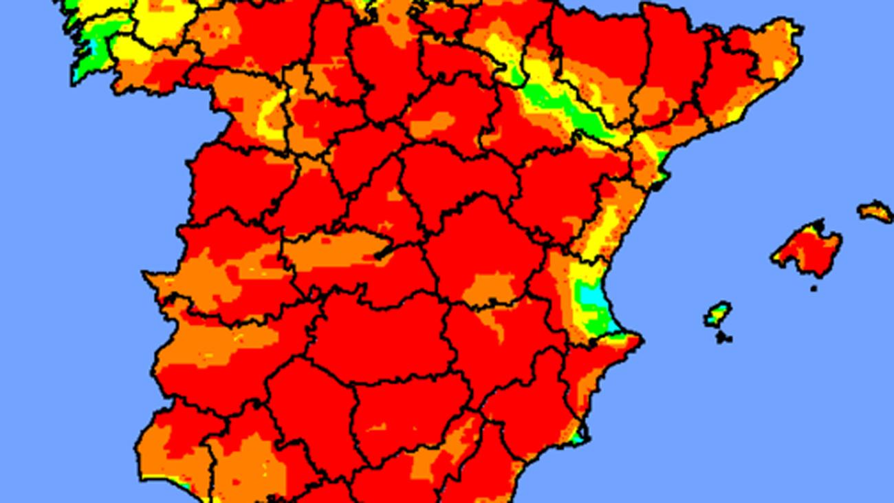 Casi toda España, en riesgo extremo de incendios forestales
