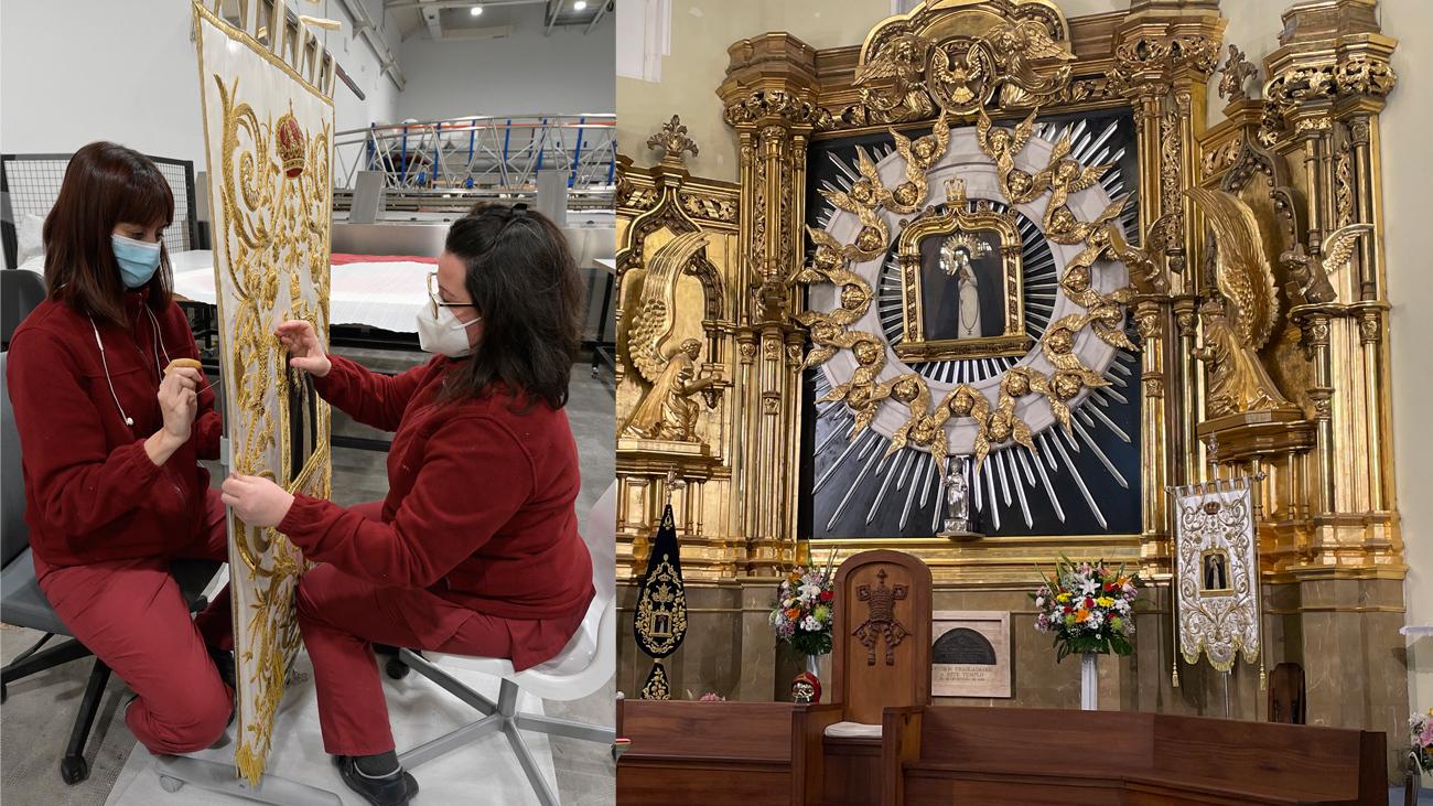 La Real Fábrica de Tapices restaura un estandarte de la Virgen de La Paloma