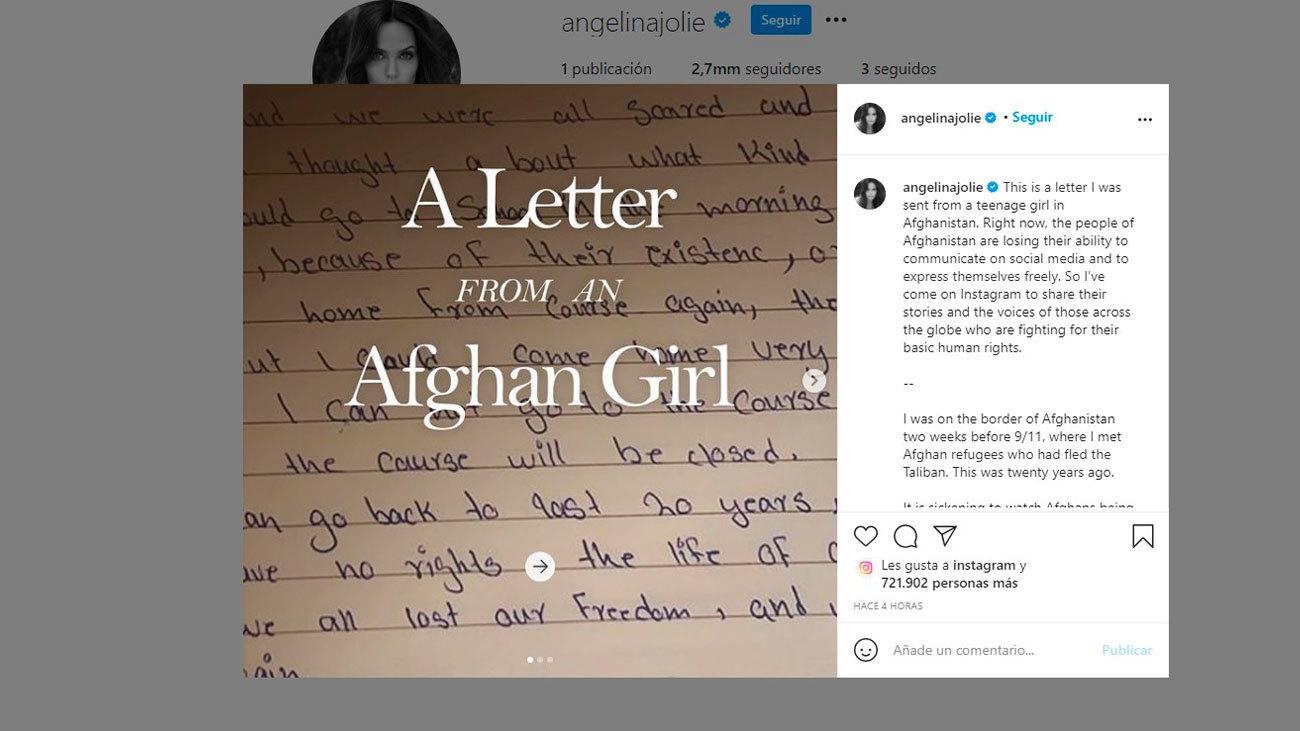 Angelina Jolie se estrena en Instagram con la impactante carta de una niña afgana