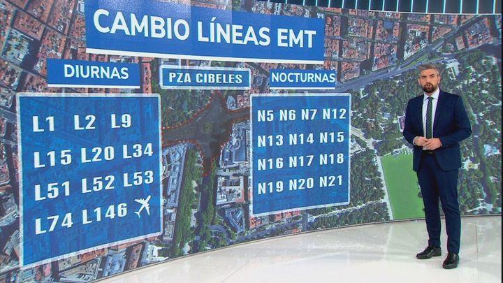 Cambios en las paradas de 25 líneas de la EMT por las obras de asfaltado de Cibeles