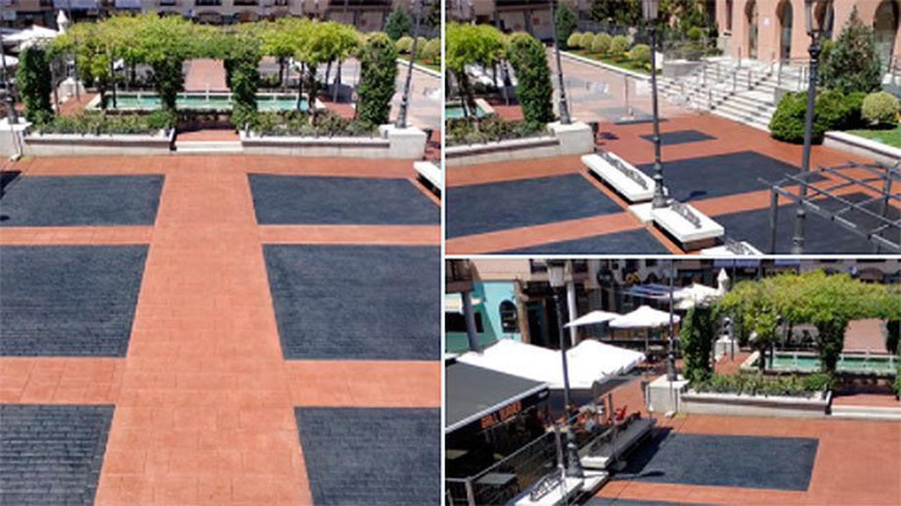 La Plaza Mayor de Pozuelo estrena pavimento
