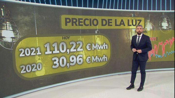 El precio de la luz vuelve a batir un récord este lunes y alcanza los 124,45 euros/MWh