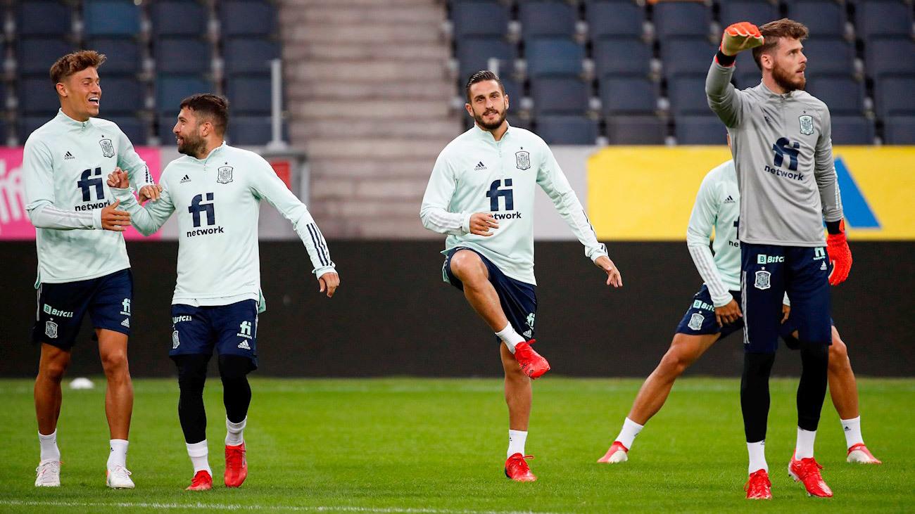 Entrenamiento de la selección española previo al partido frente a Suecia