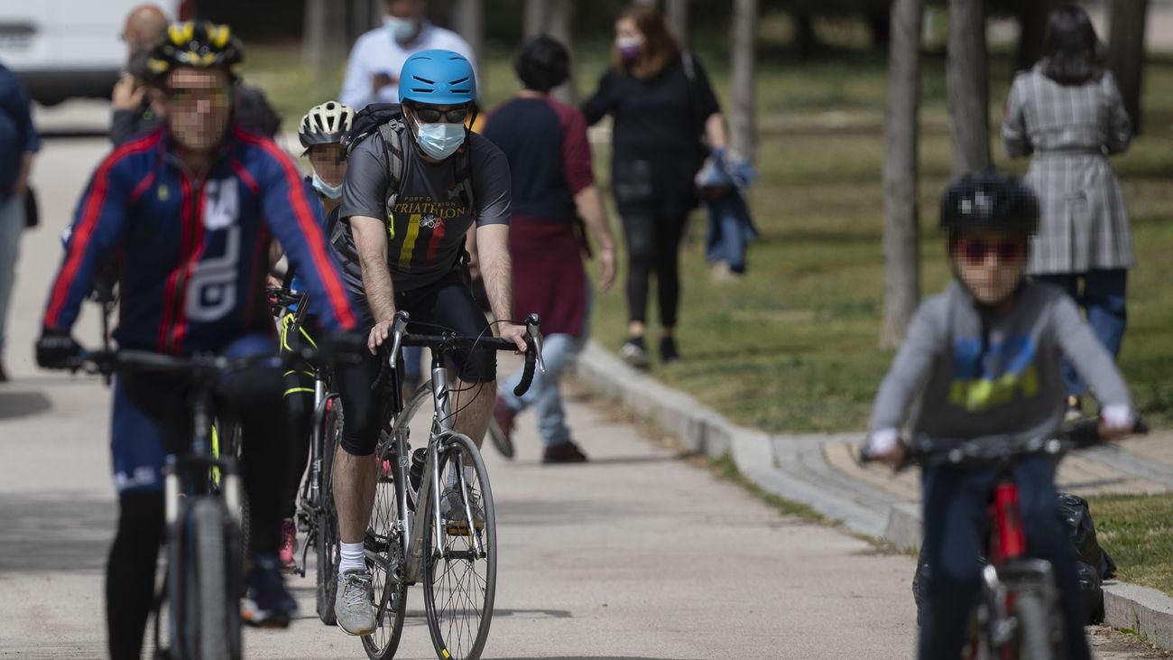 Un grupo de ciclistas en Madrid