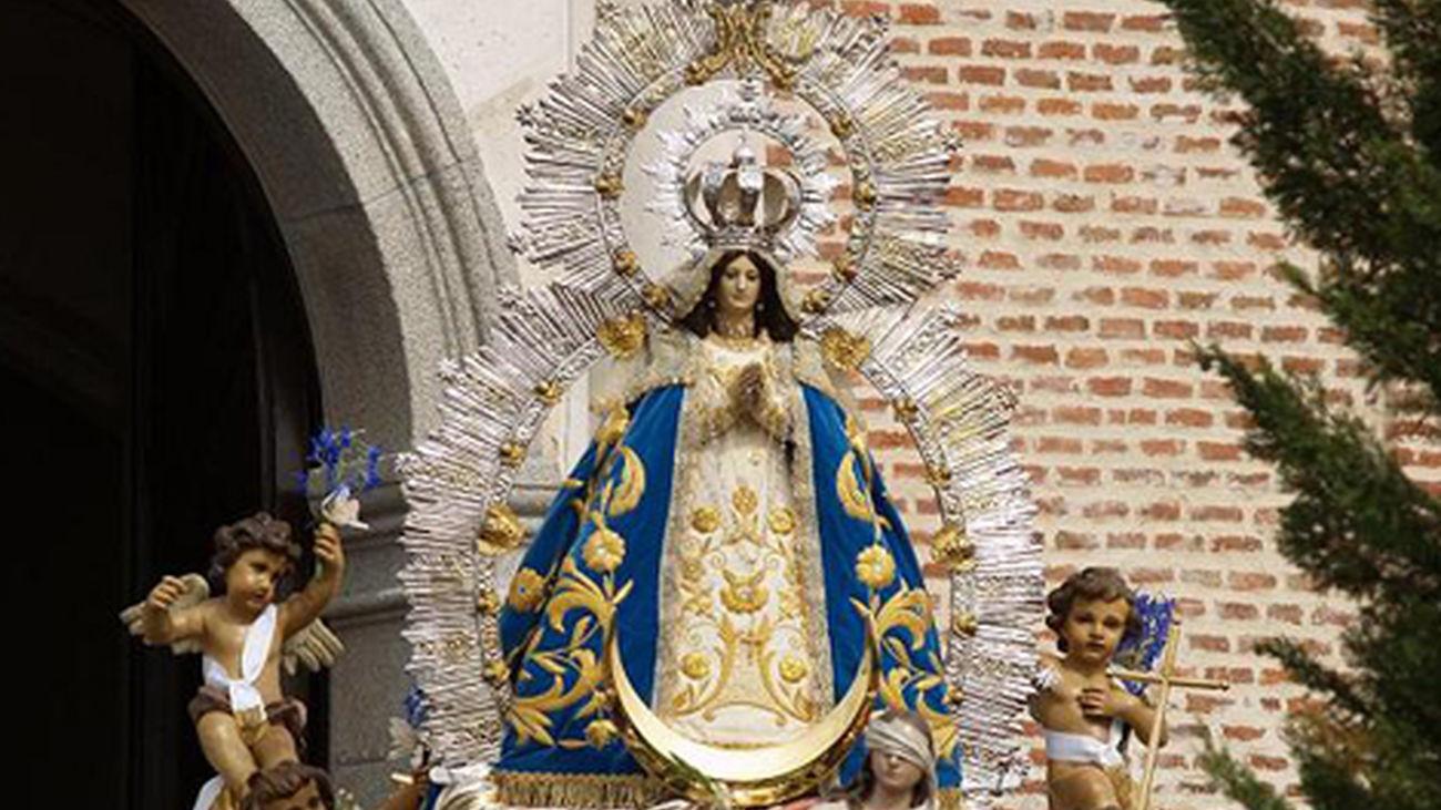 Imagen de la Virgen de los Ángeles durante las celebraciones patronales de Getafe