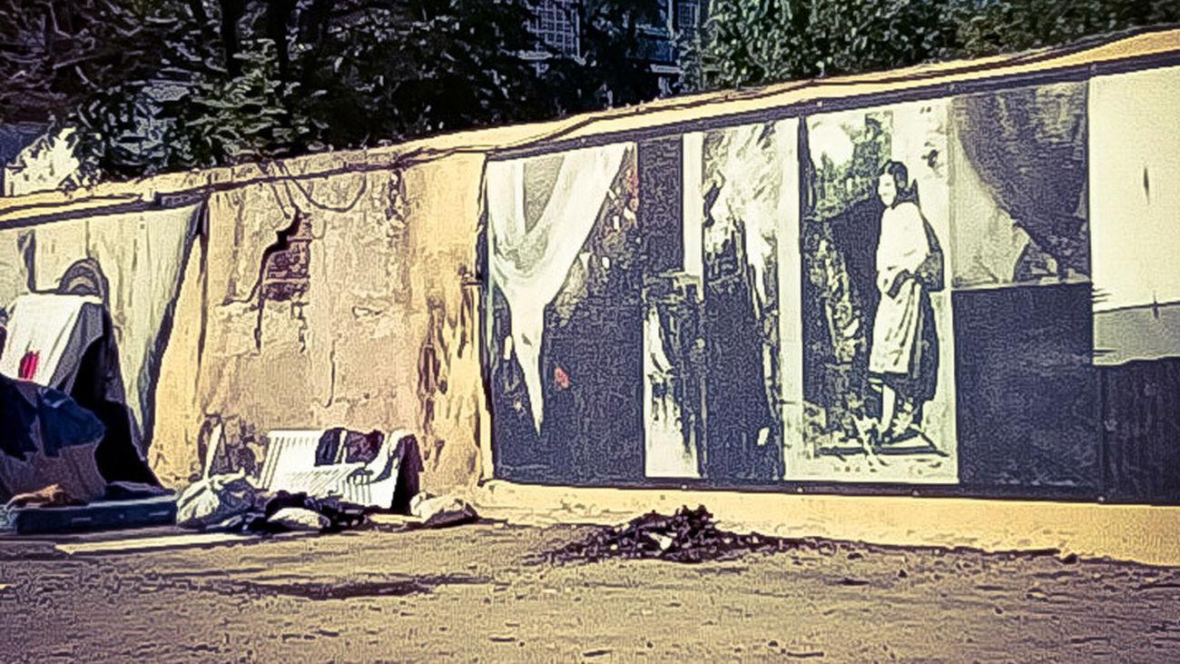 Mural de Robert Capa quemado en Peironcely 10