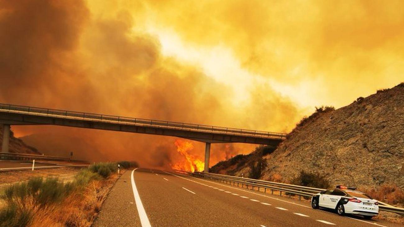 Un vehículo de la Guardia Civil recorre una carretera en medio del incendio de Sierra Bermeja
