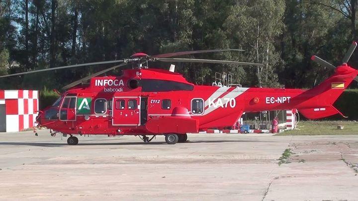 Ilesos los 19 ocupantes del helicóptero accidentado en el incendio de Málaga