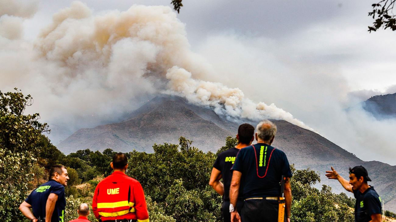 Bomberos y efectivos de UME observan el incendio de Sierra Bermeja