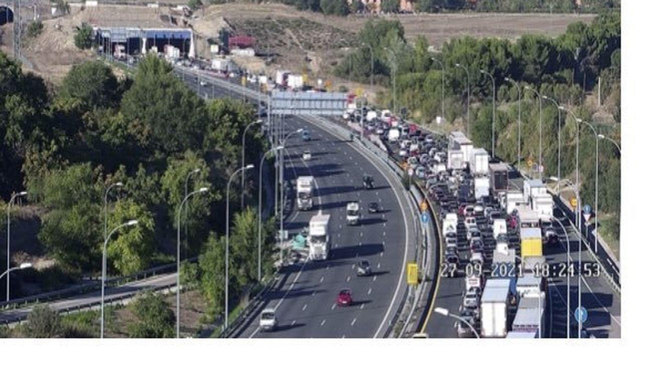 Accidente con siete vehículos implicados en el túnel de la M-50 en Getafe