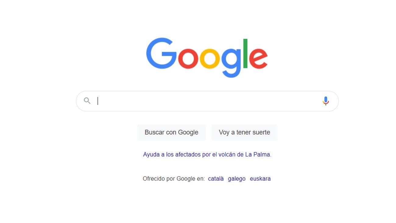 Google añade un enlace para ayudar a los afectados por el volcán de La Palma