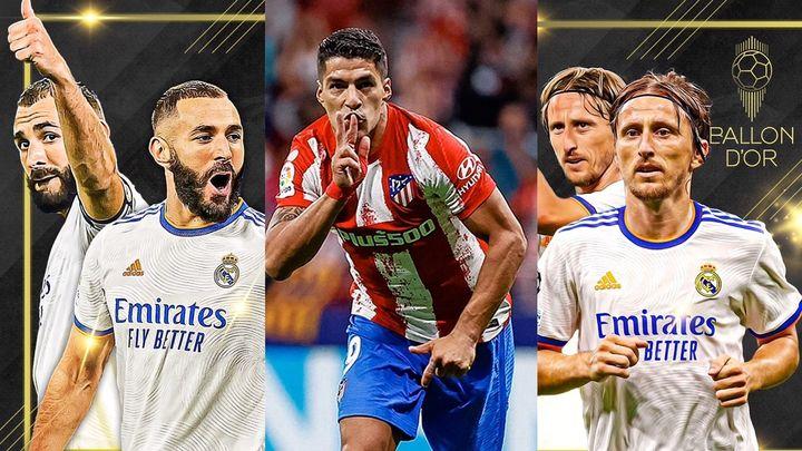 Los madridistas Benzema y Modric y el atlético Luis Suárez, entre los candidatos al Balón de Oro